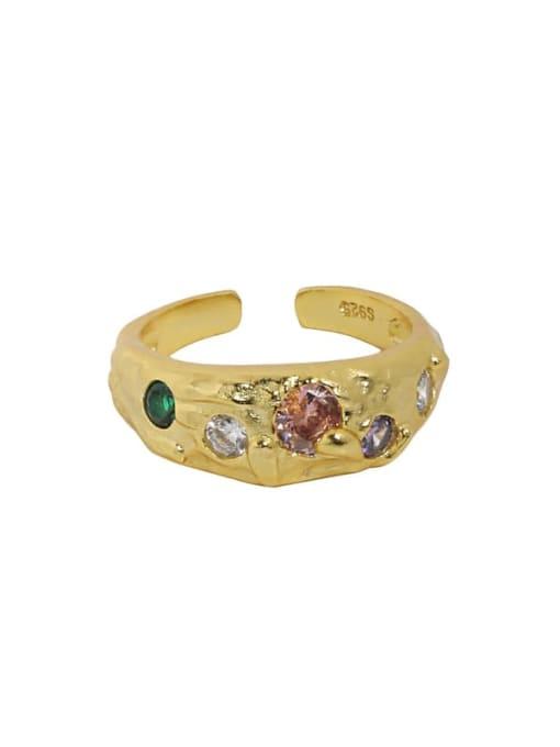 18K gold [powder stone] 925 Sterling Silver Glass Stone Irregular Vintage Band Ring